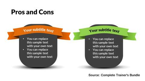 PowerPoint Pros and Cons Ribbons
